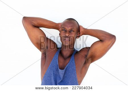 African American Sport Man With Hands Behind Head