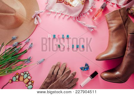 Spring Female Outfit. Set Of Clothes, Shoes And Accessories On Pink Background. Hello Spring