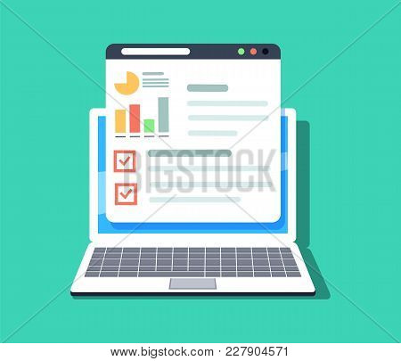 Flat Vector Illustration Of Web And Application Optimization, Programming And Analytics. Search Engi