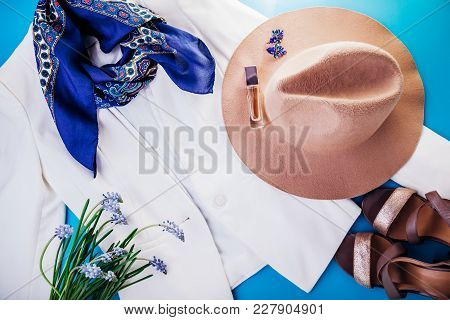 Spring Female Outfit. Set Of Clothes, Shoes And Accessories On Blue Background