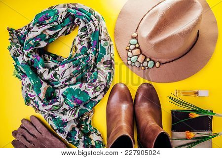 Spring Female Outfit. Set Of Clothes, Shoes And Accessories On Yellow Background