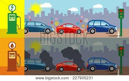 Symbolic Vector Illustration Showing The Air Pollution Produced By Petrol Cars Compared To Electric