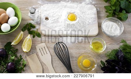 Egg With Flour On The Table, Dough Ingredients And Kitchenware, Dessert Cooking, Stock Footage