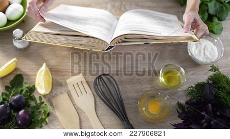 Woman Hands Holding Cooking Book Table, Girl Choosing Recipe For Family Dinner, Stock Footage