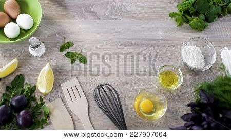 Eggs, Flour And Kitchenware On Wooden Table Background, Traditional Biscuits, Stock Footage