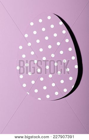 Easter Greeting Card With Pastel Pink Paper Eggs With Dots .creative Greeting Concept. Layout With C