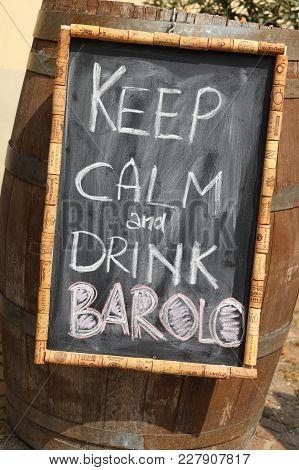 La Morra, Italy - May 28, 2016: Sale Sign At A Wine Shop In La Morra. Piedmont. Italy