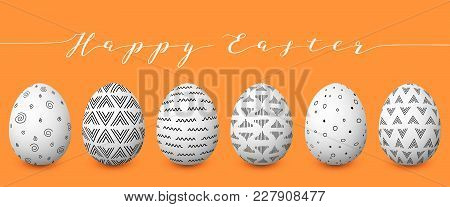 Happy Easter. Set Of Colorful Easter Eggs With Different Simple Textures On Golden Background. Sprin