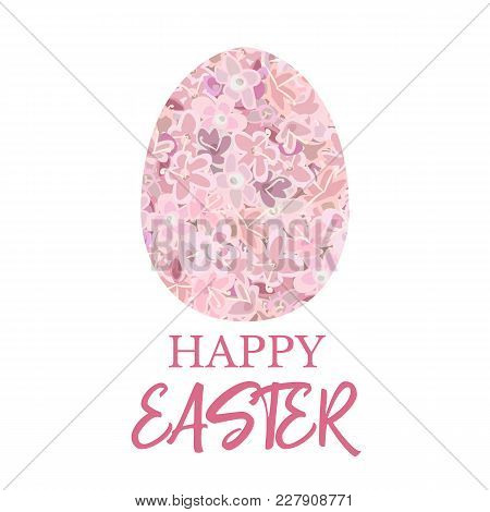 Happy Easter. Decorated Pink Flat Egg Decorated Pink Flowers Carnation, Crane's-bill Or Meadow Geran