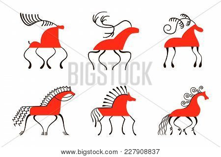 Set Of Six Red Horses. National Northen Paintings. Folk Handicrafts. Enchanting Original Ornaments.