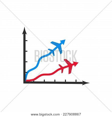 Isolated Graph Icon Of Flight Miles Bonuses Vector Illustration. Two Arrows Like A Planes Infographi