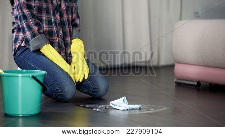Hotel Maid Kneeling Feeling Tired Of Washing Dirty Floor Stains, Sanitizer, Stock Footage