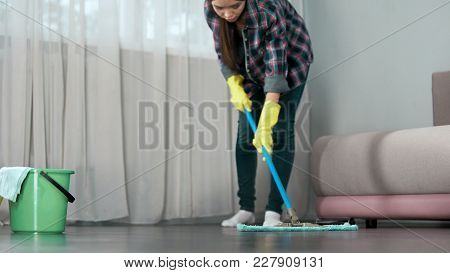 Maid Carefully Washing Floor Of Hotel Room Before Arrival Of Guests, Cleaning, Stock Footage