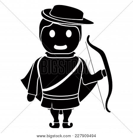 Isolated Archer Cartoon Character. Vector Illustration Design
