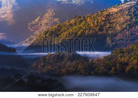 Panorama Of Mountain  With Mist