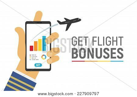 Smartphone App To Control Your Flight Miles Bonuses Vector Illustration With Text Template. Isolated