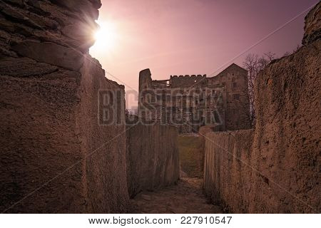 Ruins Of The Medieval Bolkow Castle At Sunset, Lower Silesia, Poland