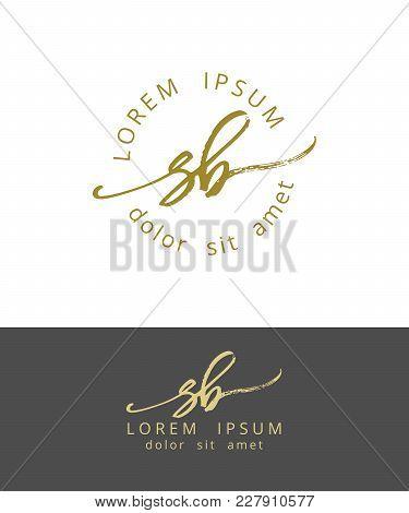 S B. Handdrawn Brush Monogram Calligraphy Logo Design Work