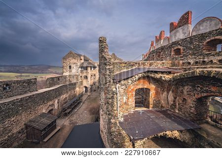 Ruins Of The Medieval Bolkow Castle As Seen From The Watchtower, Lower Silesia, Poland