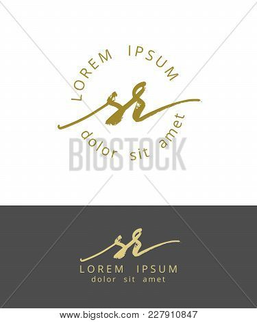 S R. Handdrawn Brush Monogram Calligraphy Logo Design Work