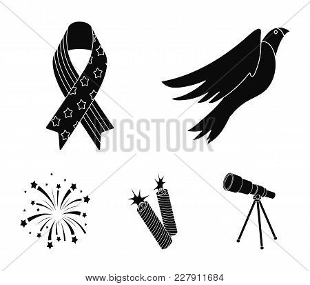 American Eagle, Ribbon, Salute. The Patriot's Day Set Collection Icons In Black Style Vector Symbol