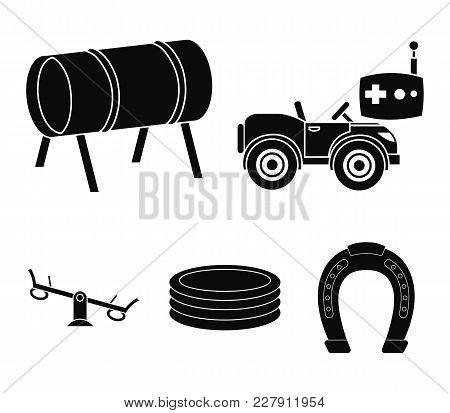 Machine For Radio Control, Tunnel, Trampoline, Swing. Playground Set Collection Icons In Black Style