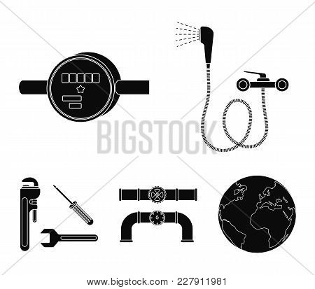 Shower, Faucet, Water Meter And Other Equipment.plumbing Set Collection Icons In Black Style Vector