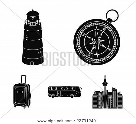Vacation, Travel, Lighthouse, Compass .rest And Travel Set Collection Icons In Black Style Vector Sy