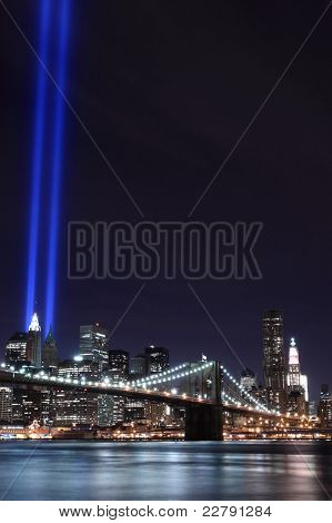 Brooklyn Brigde and the Towers of Lights at Night, New York City