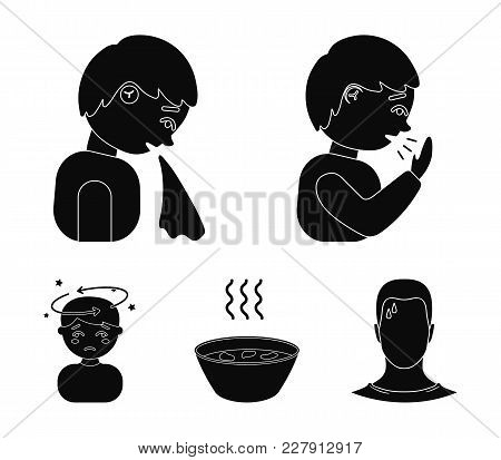 A Sneezing Man, A Boy With A Handkerchief, A Patient With A Headache, A Hot Broth, A Drink In A Plat