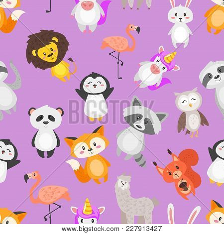 Vector Cartoon Style Seamless Pattern With Cute Animals On Purple Background.