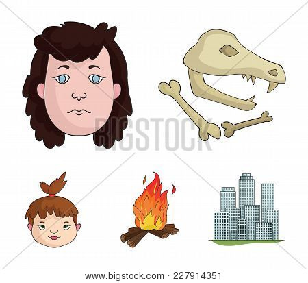 Woman, Hair, Face, Bonfire .stone Age Set Collection Icons In Cartoon Style Vector Symbol Stock Illu