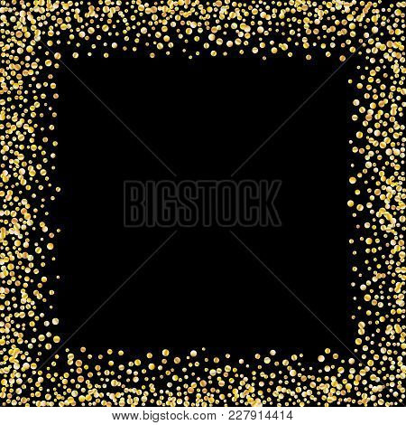 Golden Glitter Confetti On A Black Background. Illustration Of A Drop Of Shiny Particles. Decorative