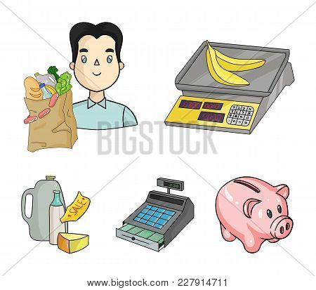 Package, Scales, Banana, Fruit .supermarket Set Collection Icons In Cartoon Style Vector Symbol Stoc