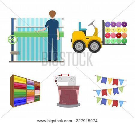 Equipment, Machine, Forklift And Other  Icon In Cartoon Style.textiles, Industry, Tissue, Icons In S