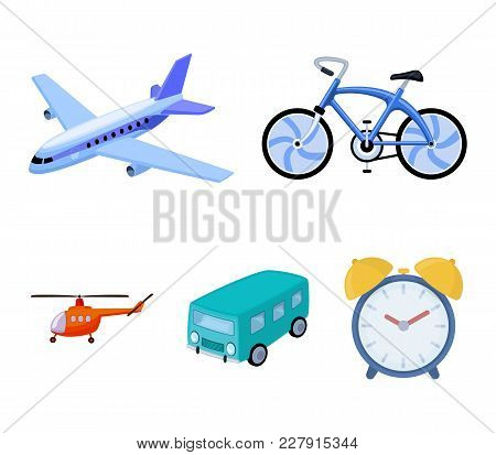 Bicycle, Airplane, Bus, Helicopter Types Of Transport. Transport Set Collection Icons In Cartoon Sty