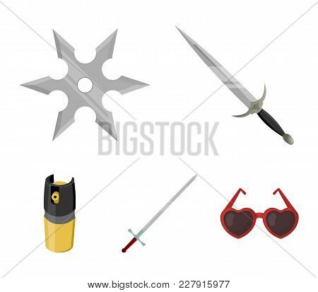 Sword, Two-handed Sword, Gas Balloon, Shuriken. Weapons Set Collection Icons In Cartoon Style Vector