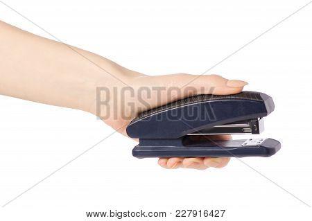 Stapler In Hand On White Background Isolation