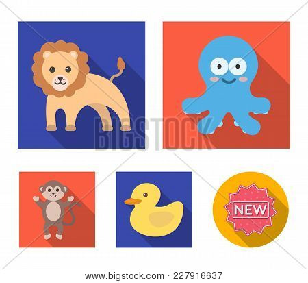 An Unrealistic Flat Animal Icons In Set Collection For Design. Toy Animals Vector Symbol Stock  Illu