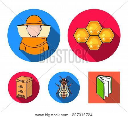 The Bee, The Bee-keeper In The Mask, The Honeycomb Of The Honey.apiary Set Collection Icons In Flat