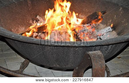 Center Shot Of Flames In Camp Fire Pit