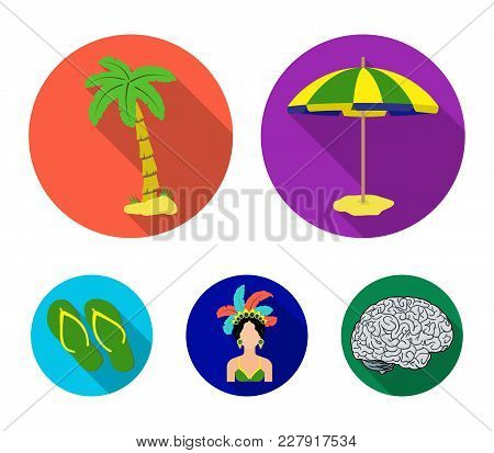 Brazil, Country, Umbrella, Beach . Brazil Country Set Collection Icons In Flat Style Vector Symbol S