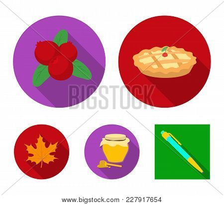 Cranberry, Pumpkin Pie, Honey Pot, Maple Leaf.canada Thanksgiving Day Set Collection Icons In Flat S