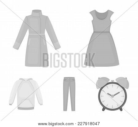 Dress With Short Sleeves, Trousers, Coats, Raglan.clothing Set Collection Icons In Monochrome Style