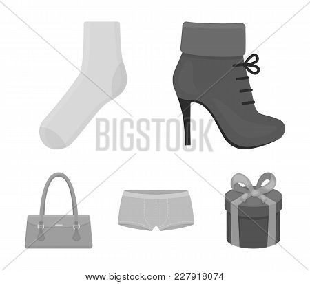 Women's Boots, Socks, Shorts, Ladies' Bag. Clothing Set Collection Icons In Monochrome Style Vector