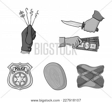 Robbery Attack, Fingerprint, Police Officer's Badge, Pickpockets.crime Set Collection Icons In Monoc