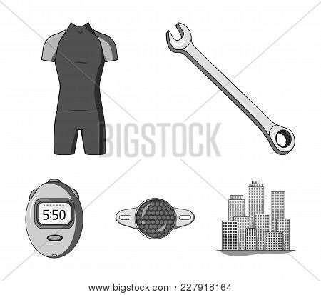 A Wrench, A Bicyclist's Bone, A Reflector, A Timer.cyclist Outfit Set Collection Icons In Monochrome