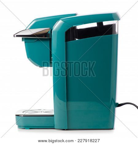 Capsular Electric Coffee Machine On White Background Isolation
