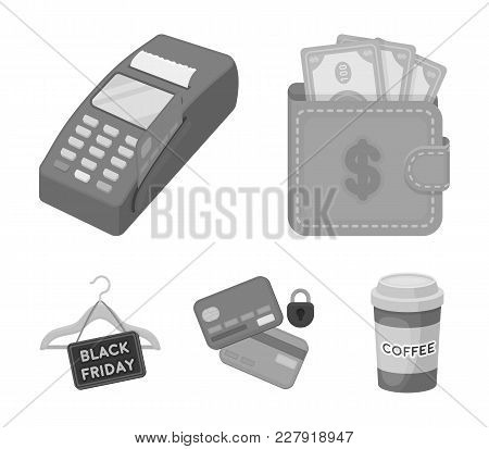 Purse, Money, Touch, Hanger And Other Equipment. E Commerce Set Collection Icons In Monochrome Style