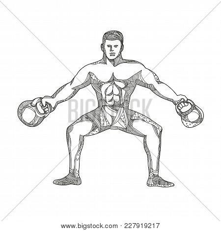 Doodle art illustration of a fitness athlete, strongman or personal trainer lifting two kettlebells viewed from front in black and white done in mandala style. poster